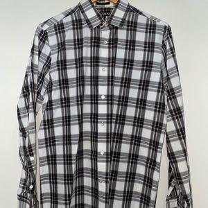 Black and White Striped Modern Fit Dress Shirt